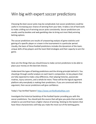 Win big with expert soccer predictions