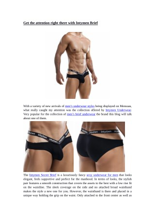 Get the attention right there with Intymen Brief