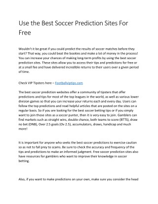Use the Best Soccer Prediction Sites For Free