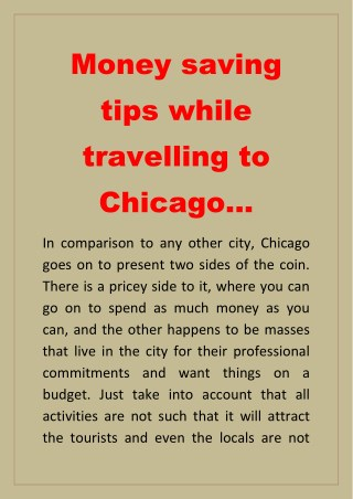Money saving tips while travelling to Chicago…