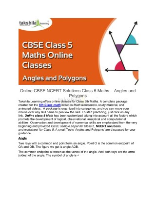 Online CBSE NCERT Solutions Class 5 Maths - Angles and Polygons