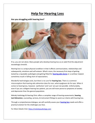 Help for Hearing Loss – Melody Audiology