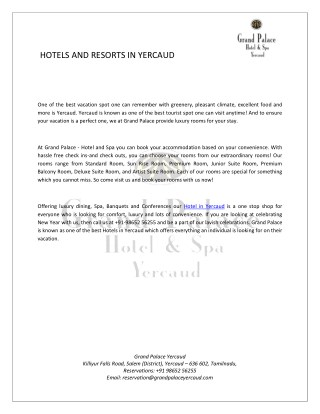 Hotels and Resorts in Yercaud