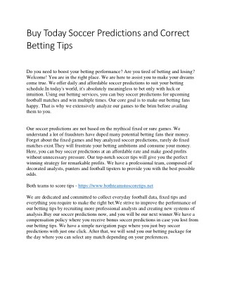 Buy Today Soccer Predictions and Correct Betting Tips