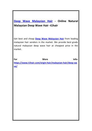 Deep Wave Malaysian Hair - Online Natural Malaysian Deep Wave Hair -t1hair