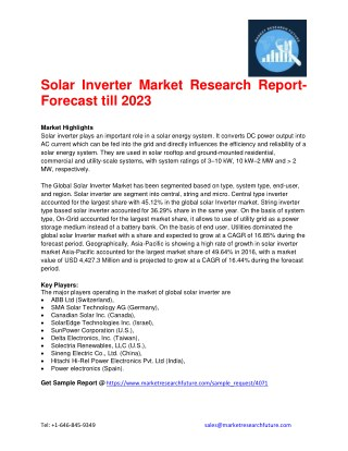 Solar Inverter Market Research Report- Forecast till 2023