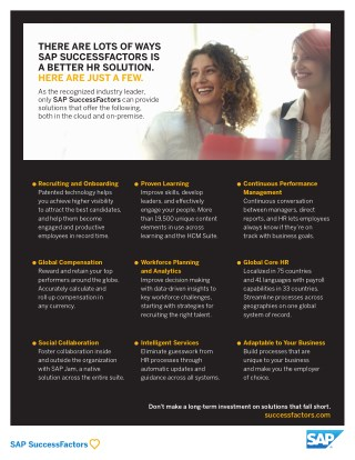 THERE ARE LOTS OF WAY SAP SUCCESSFACTORS IS A BETTER HR SOLUTION