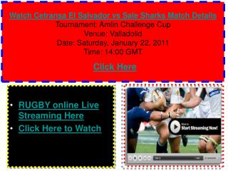 Watch Cetransa El Salvador vs Sale Sharks Rugby match of Aml
