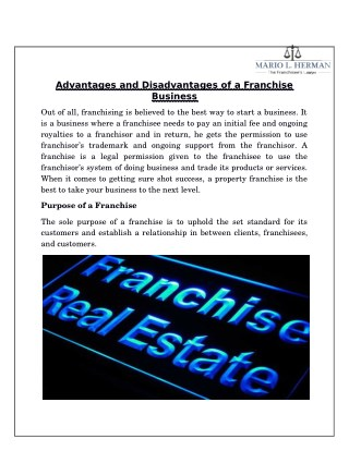 Advantages and Disadvantages of a Franchise Business