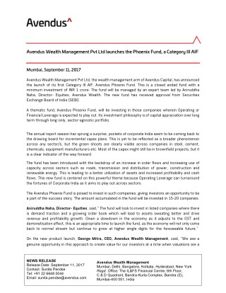 Avendus Wealth Management Pvt Ltd launches the Phoenix Fund, a Category III AIF