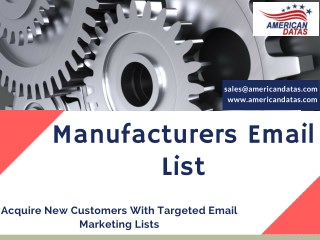 Manufacturers Email List | Manufacturing Industry Mailing List | Industry Mailing List