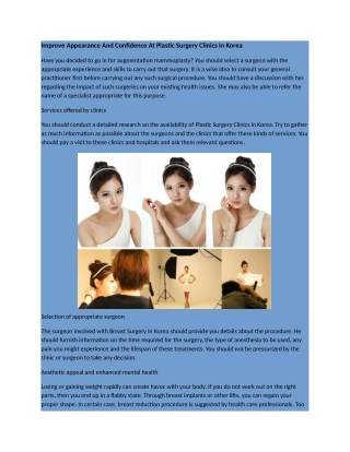 Appearance And Confidence At Plastic Surgery Clinics In Korea.