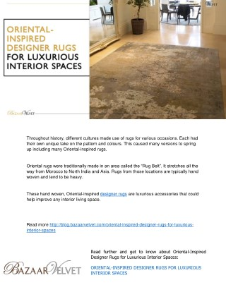 Ppt Oriental Inspired Designer Rugs For Luxurious Interior Spaces Powerpoint Presentation Id 7741755