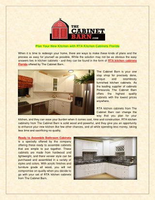 Plan Your New Kitchen with RTA Kitchen Cabinets Florida