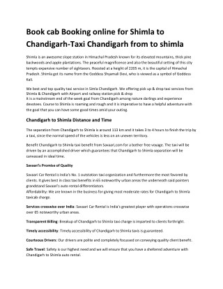 Best Taxi Service Chandigarh Shimla book now