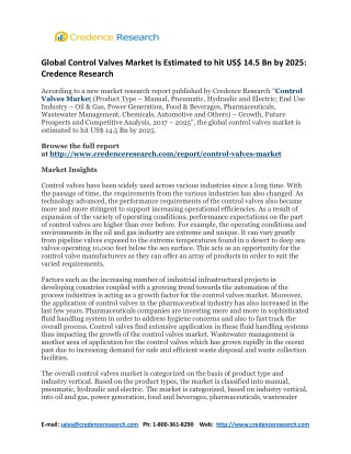 Global Control Valves Market Is Estimated to hit US$ 14.5 Bn by 2025: Credence Research