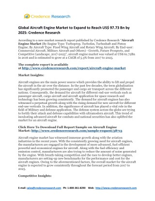 Global Aircraft Engine Market to Expand to Reach US$ 97.73 Bn by 2025: Credence Research