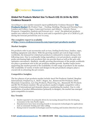 Global Pet Products Market To Reach US$ 33.16 Bn By 2025: Credence Research