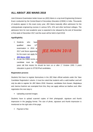 JEE Main 2018 Admission Details