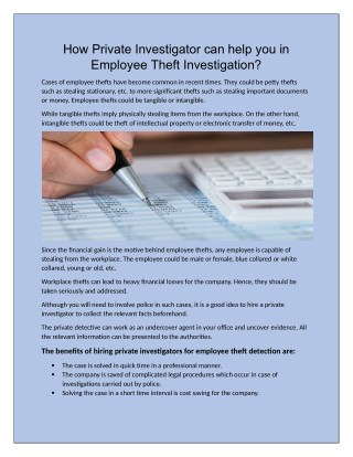 How Private Investigator can help you in Employee Theft Investigation?