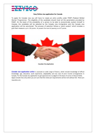 Easy Online visa application for Canada