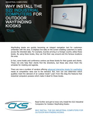 Why Install the S22 Industrial Computers for Outdoor Wayfinding Kiosks