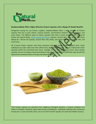 BuyNaturalMeds Offers Highly Effective Kratom Capsules with a Range Of Health Benefits
