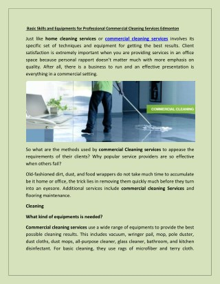 Basic Skills and Equipments for Professional Commercial Cleaning Services Edmonton