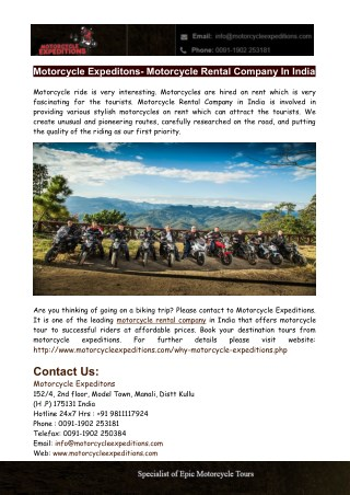 Motorcycle Expeditions- Motorcycle Rental Company in India