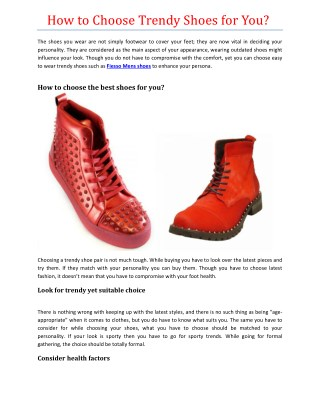 How to Choose Trendy Shoes for You?