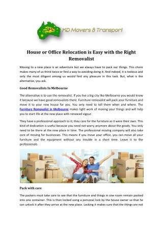 House Move Services in Melbourne