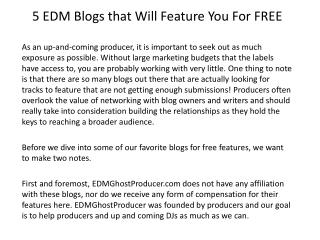 5 EDM Blogs that Will Feature You For FREE