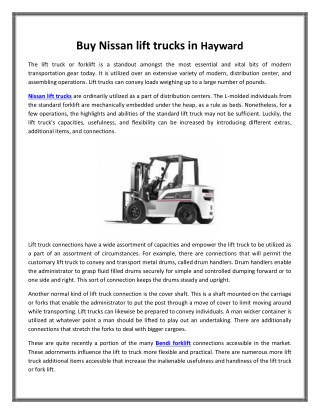 Buy Nissan lift trucks in Hayward   Big Joe lift