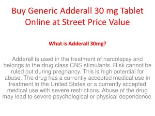 Buy Generic Adderall 30 mg Tablet Online at Street Price Value