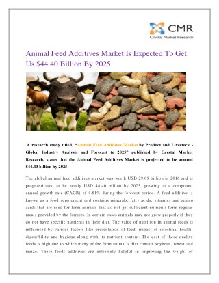 Animal Feed Additives Market Is Expected To Get Us $44.40 Billion By 2025