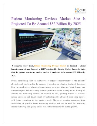 Patient Monitoring Devices Market Size Is Projected To Be Around $32 Billion By 2025