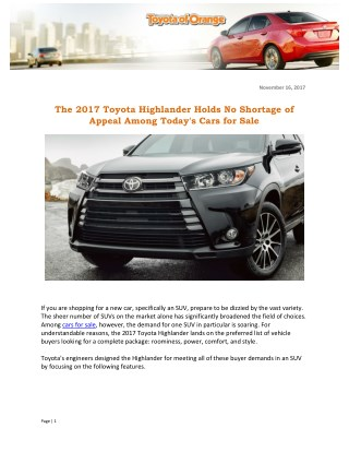 The 2017 Toyota Highlander Holds No Shortage of Appeal Among Today's Cars for Sale
