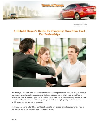 A Helpful Buyer's Guide for Choosing Cars from Used Car Dealerships