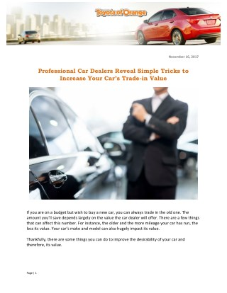 Professional Car Dealers Reveal Simple Tricks to Increase Your Car's Trade-in Value