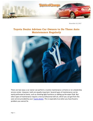 Toyota Dealer Advises Car Owners to Do These Auto Maintenance Regularly