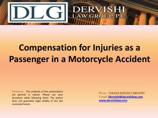 Compensation for Injuries as a Passenger in a Motorcycle Accident
