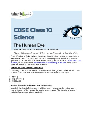 Class 10 Science Chapter 11-The Human Eye and the Colorful World