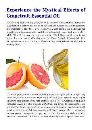 Experience the Mystical Effects of Grapefruit Essential Oil