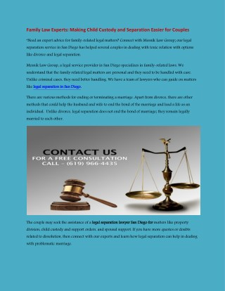 Legal Separation Lawyers San Diego