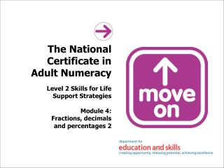 The National Certificate in Adult Numeracy Level 2 Skills for Life Support Strategies Module 4:  Fractions, decimals and