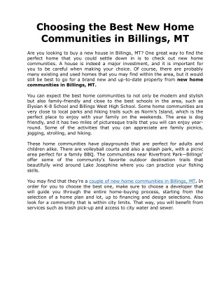 Choosing the Best New Home Communities in Billings, MT