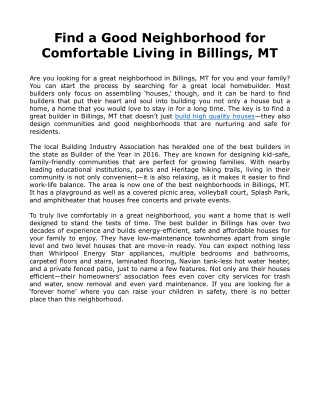 Find a Good Neighborhood for Comfortable Living in Billings, MT