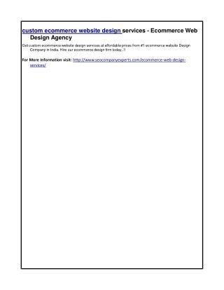 custom ecommerce website design services - Ecommerce Web Design Agency
