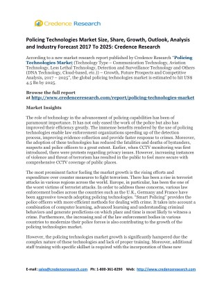 Policing Technologies Market Size, Share, Growth, Outlook, Analysis and Industry Forecast 2017 To 2025: Credence Researc