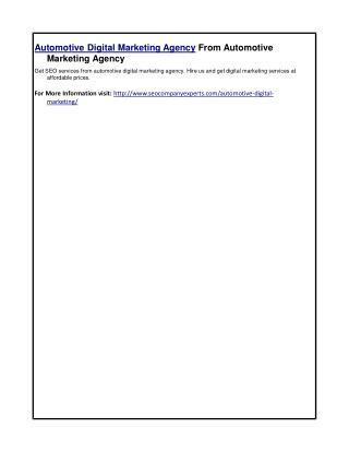 Automotive Digital Marketing Agency From Automotive Marketing Agency